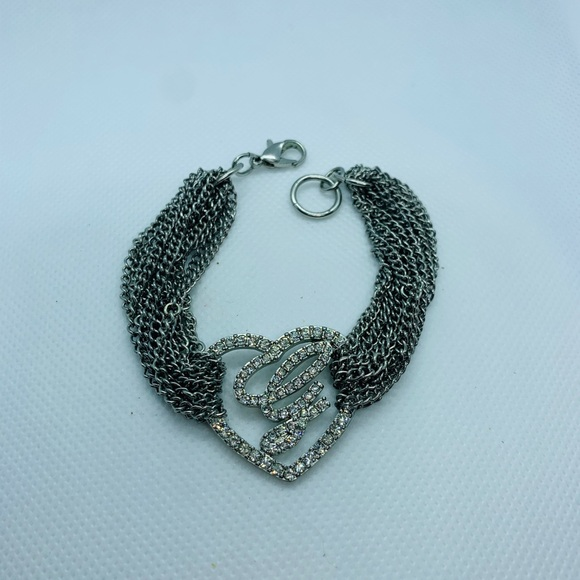 """""""Guess"""" silver tone chain bracelet with heart"""